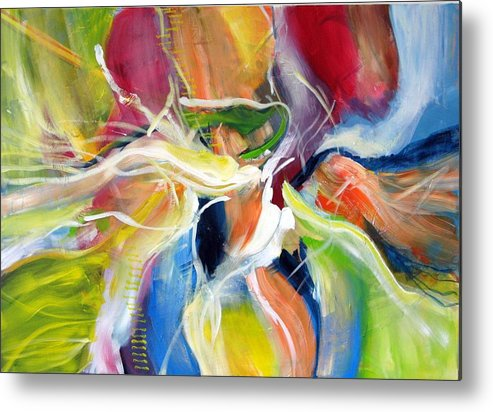Abstract Painting Full Of Live Vibrant Colors Named: Freedom Metal Print featuring the painting Freedom by Dan Bunea