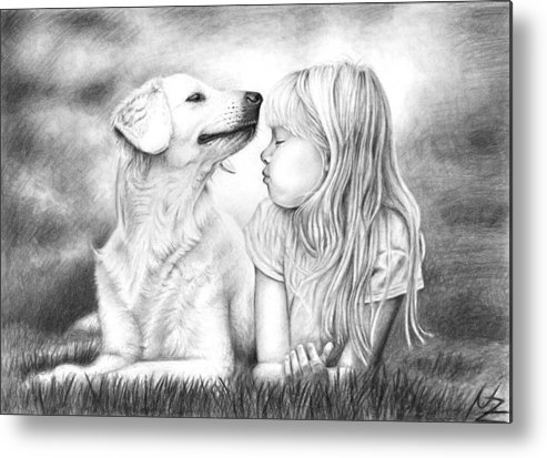 Dog Metal Print featuring the drawing Friends by Nicole Zeug
