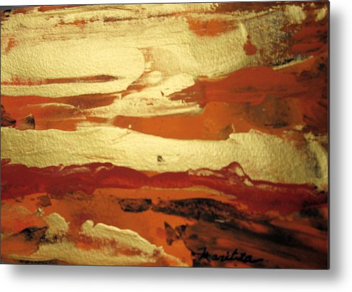 Landscape Metal Print featuring the painting Golden Dusk by Maritza Bermudez