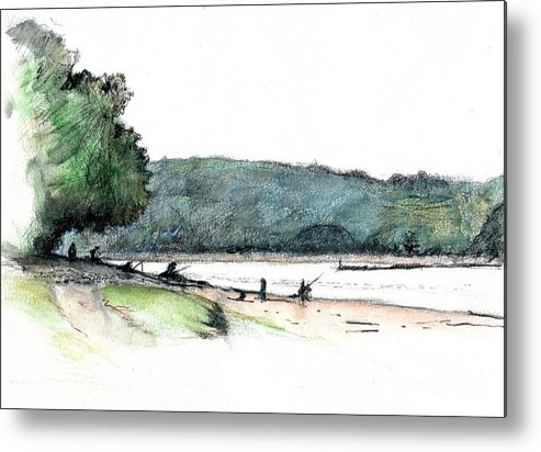 Fishing Metal Print featuring the drawing Gone Fishing by Andy Mercer