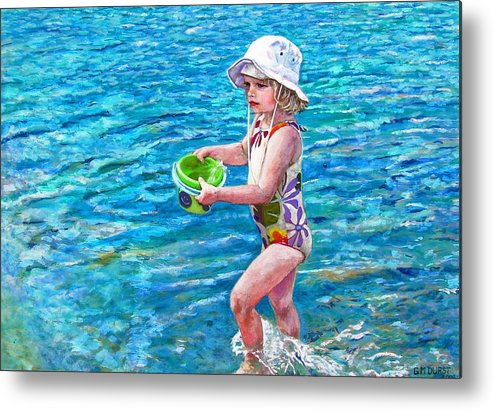 Children Metal Print featuring the painting Hannah By The Sea by Michael Durst