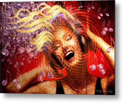 Music Metal Print featuring the painting Headphones by Robby Donaghey