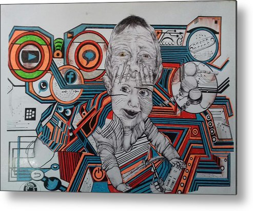 Tecnologi Metal Print featuring the drawing Infections by Yudhit Hadi