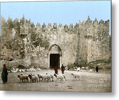 1900 Metal Print featuring the photograph Jerusalem: Damascus Gate by Granger