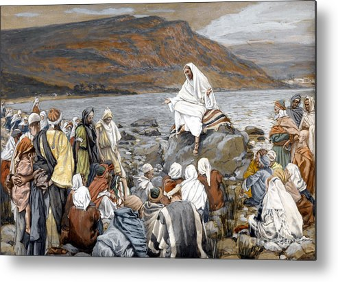 Tissot Metal Print featuring the painting Jesus Preaching by Tissot