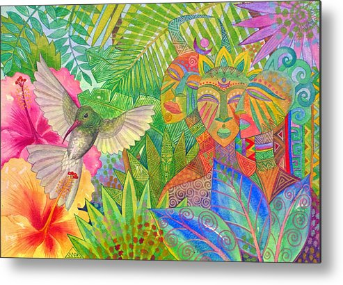 Tropical Exotic Jungle Wild Life Bird Spirit Masks Metal Print featuring the painting Jungle Spirits And Humming Bird by Jennifer Baird
