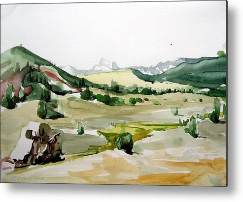 Landscapes High Desert Wildlife Nature River Blue Mountains Outdoors Airy Watery Metal Print featuring the painting Kennedy Meadows The Dome Lands by Amy Bernays