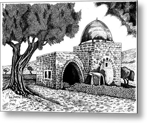 Landscape Art Metal Print featuring the drawing Kewer- Tomb Rachel by Jonatan Kor