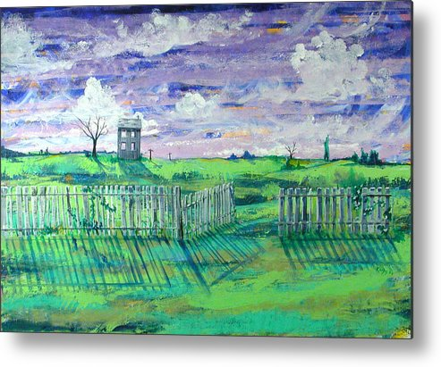 Landscape Metal Print featuring the painting Landscape With Fence by Rollin Kocsis