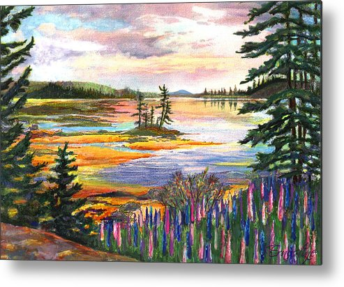 Lupines Metal Print featuring the painting Lupine Sunrise by Ernestine Grindal