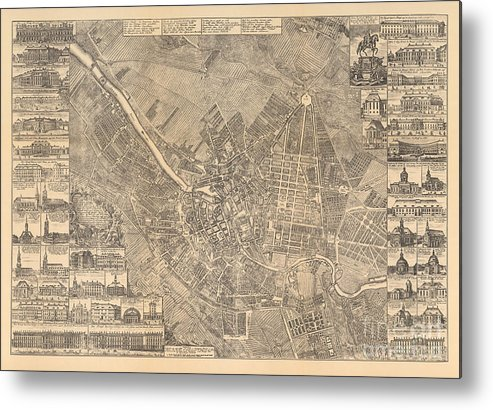 Maps Metal Print featuring the painting Map Of Berlin Showing Buildings Of Interest, 1773 by Johann David Schleuen