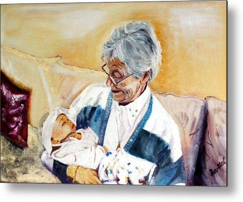 Portrait Metal Print featuring the painting my granddaughter Leonie with her great grandmum by Helmut Rottler