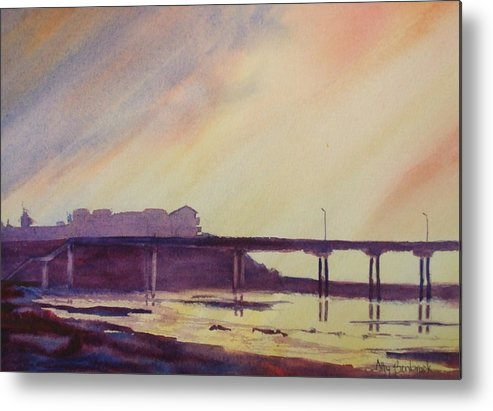 Sunset Metal Print featuring the painting Ocean Beach Pier 4 by Ally Benbrook