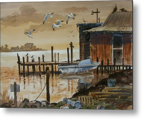Boathouse Metal Print featuring the painting Old Boathouse by Dianna Willman