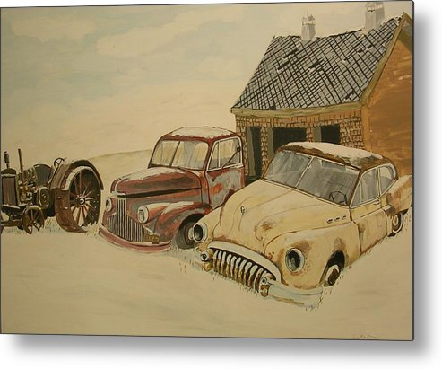 Car Metal Print featuring the painting Old Cars by Janos Szatmari