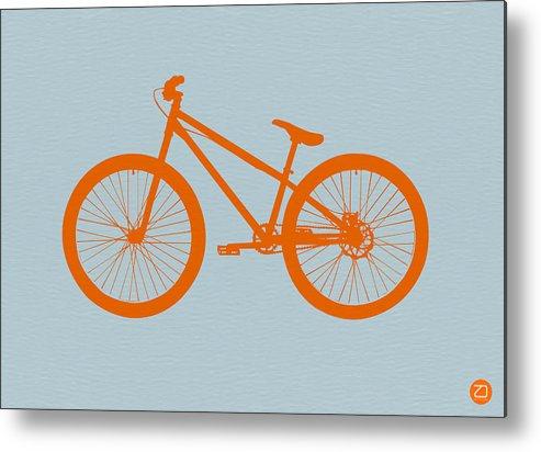 Bicycle Metal Print featuring the drawing Orange Bicycle by Naxart Studio