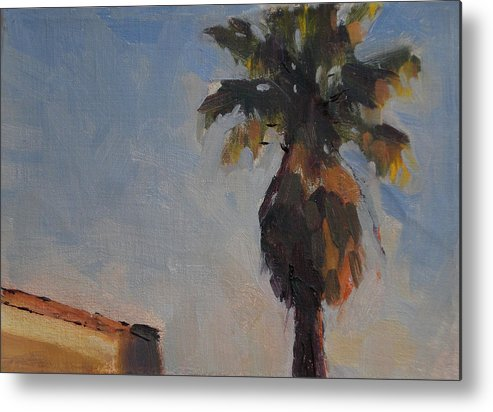 Landscape Metal Print featuring the painting Palm Tree In Winter Light by Merle Keller