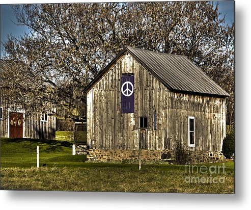 Diane Berry Metal Print featuring the photograph Peace Barn by Diane E Berry