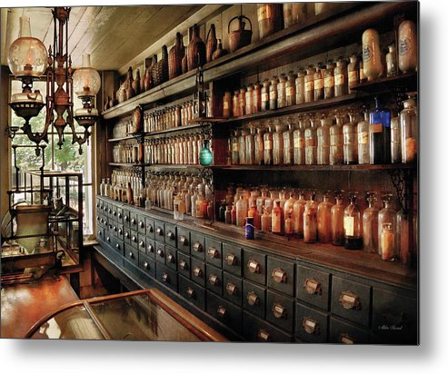 Pharmacy Metal Print featuring the photograph Pharmacy - So Many Drawers And Bottles by Mike Savad
