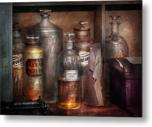 Apothecary Metal Print featuring the photograph Pharmacy - That's The Spirit by Mike Savad