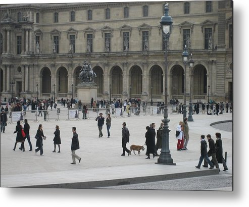 Louvre Metal Print featuring the photograph Place Du Carrousel At The Louvre by Victoria Heryet