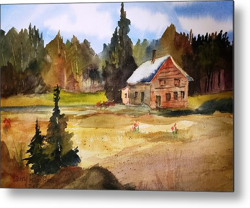 Watercolor Metal Print featuring the painting Polebridge Mt Cabin by Larry Hamilton