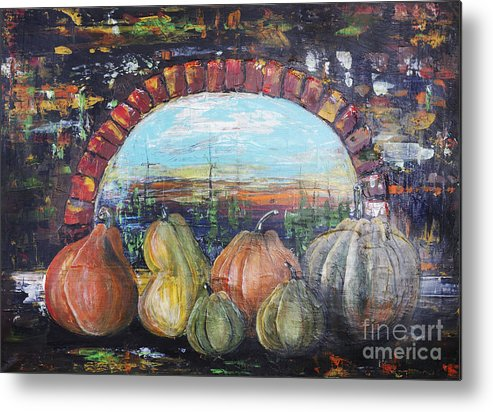 Halloween Metal Print featuring the painting Pumpkins For Halloween by Irina Gromovaja