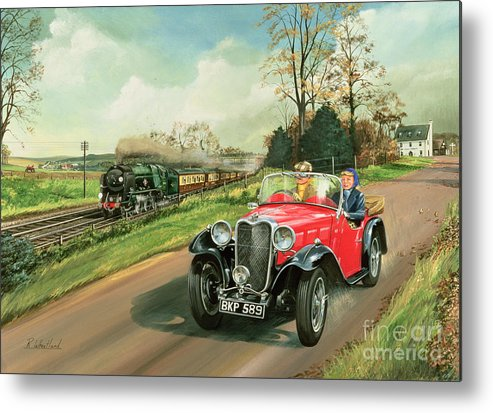 Car Metal Print featuring the painting Racing The Train by Richard Wheatland