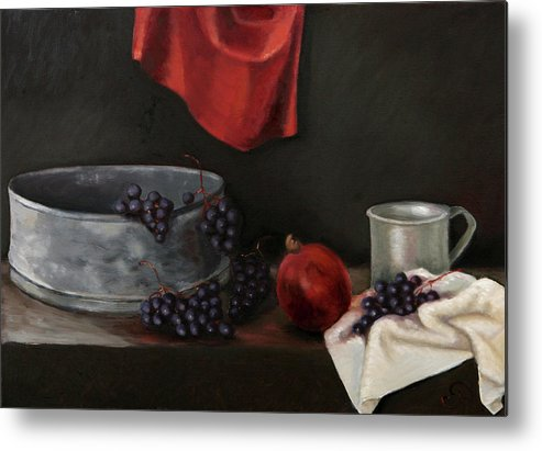 Still-life Dark Brown Red Grapes Blue Drapery Metal Print featuring the painting Red Grapes by Raimonda Jatkeviciute-Kasparaviciene