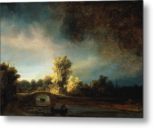 Rembrandt Landscape Metal Print featuring the painting Rembrandt Landscape Paintings - The Stone Bridge by Rembrandt