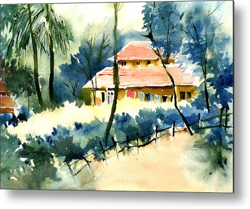 Landscape Metal Print featuring the painting Rest House by Anil Nene