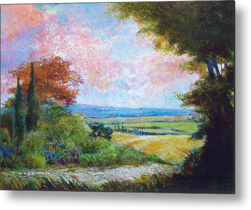 Landscape Metal Print featuring the painting Road To The Fields by Dale Witherow