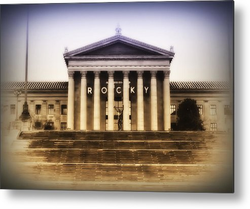 Rocky Balboa Metal Print featuring the photograph Rocky On The Art Museum Steps by Bill Cannon