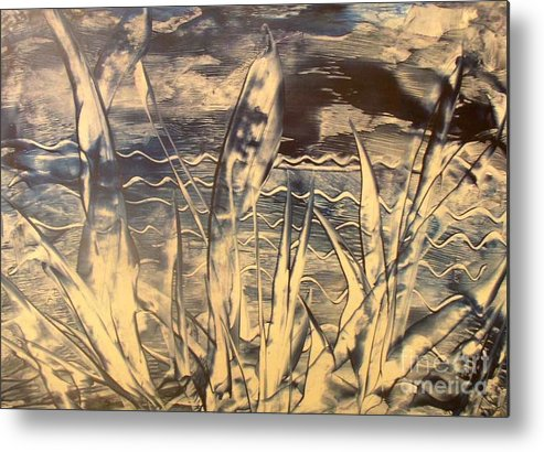 Encaustic Metal Print featuring the painting Sea View by Heather Hennick