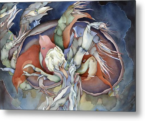 Sealife Metal Print featuring the painting Searching Deep Within by Liduine Bekman