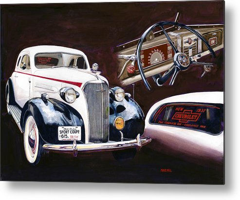 1937 Chevy Chevrolet Automobile Car Showroom Sport Coupe Auto 37 Painting Realism Brown Black White Dashboard Interior Metal Print featuring the painting Show And Tell 1937 by Mike Hill
