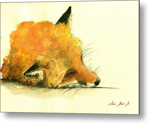 Fox Art Wall Metal Print featuring the painting Sleeping Fox by Juan Bosco