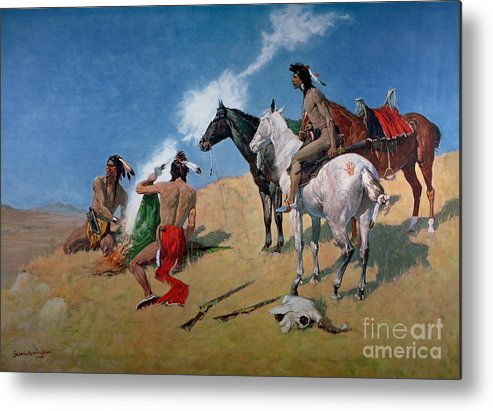 Smoke Signals (oil On Canvas) By Frederic Remington (1861-1909) Remington Metal Print featuring the painting Smoke Signals by Frederic Remington
