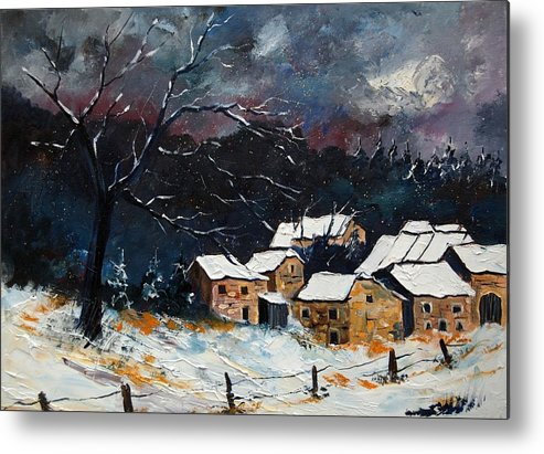 Snow Metal Print featuring the painting Snow 57 by Pol Ledent