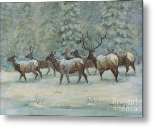 Elk Metal Print featuring the painting Snowstorm    Elk Herd by JoAnne Corpany