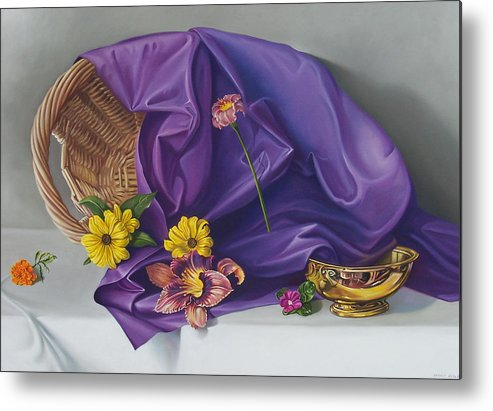 Still Life Metal Print featuring the painting Spring Basket by Arnold Hurley