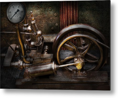 Hdr Metal Print featuring the photograph Steampunk - The Contraption by Mike Savad