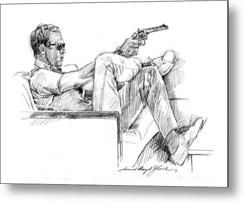 Steve Mcqueen Metal Print featuring the drawing Steve Mcqueen Colt 45 by David Lloyd Glover