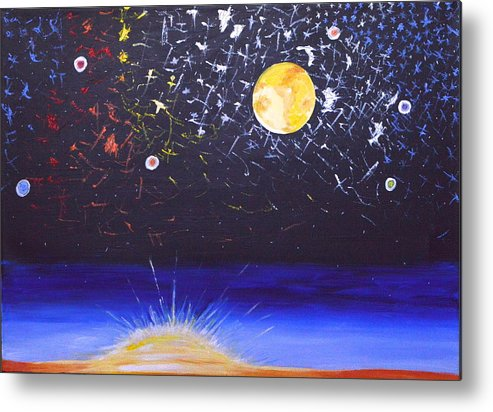 Sun Metal Print featuring the painting Sun Moon And Stars by Donna Blossom