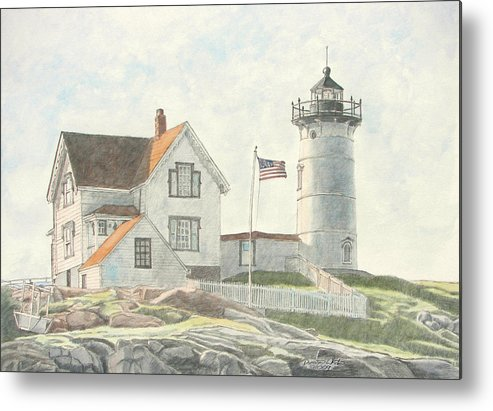 Watercolor Metal Print featuring the painting Sunrise At Nubble Light by Dominic White
