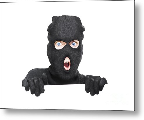 Background Metal Print featuring the photograph Surprised Robber Holding Blank Security Sign by Jorgo Photography - Wall Art Gallery