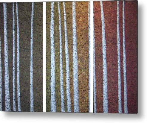 Birch Aspen Trees Abstract Landscape Triptych Metal Print featuring the painting The Beholders by Sally Van Driest
