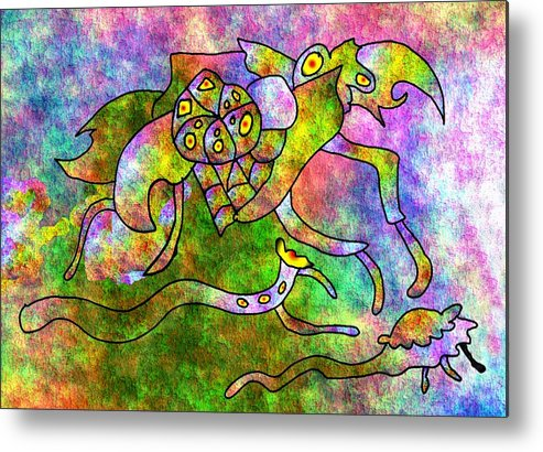 Bugs Color Texture Abstract Fun Metal Print featuring the digital art The Bugs by Veronica Jackson