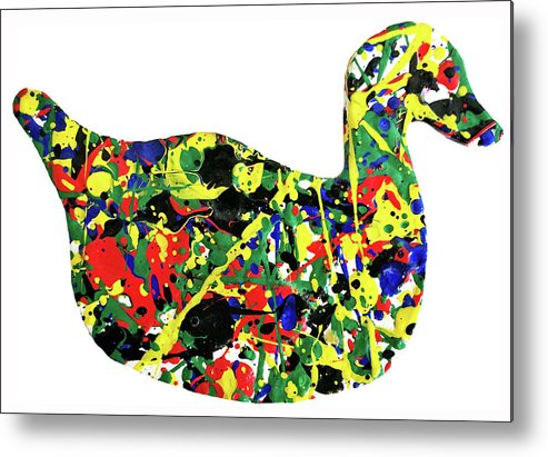 Abstract Metal Print featuring the painting The Duck by Ducksy