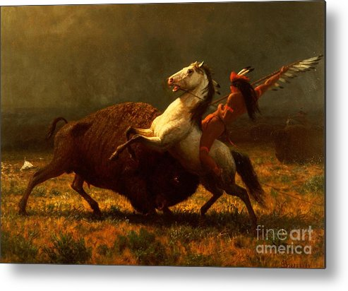 Albert Bierstadt Metal Print featuring the painting The Last Of The Buffalo by Albert Bierstadt